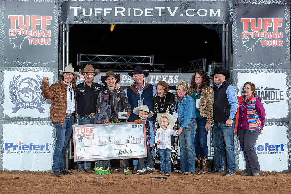 Rostockyj, joined by the Casa Ford and Sunland Park families, Tuff and Clarice Hedeman celebrate fourteen years of Tuff Hedeman Bull Riding in El Paso.