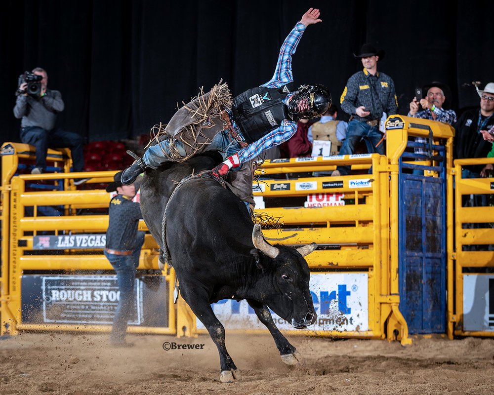 Boudreaux Campbell wins his first Tuff Hedeman Bull Riding Championship aboard 53 Wired Up from Barker Bucking Bulls