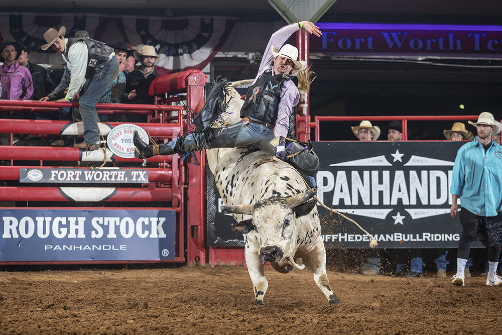5-time World Champion Sage Kimzey will have to get past young guns like Brett Custer (above), son of World Champion bull rider Cody Custer, at the annual man vs beast duel known as the South Point Tuff Hedeman Challenge on April 6 in Fort Worth at the Cowtown Coliseum.