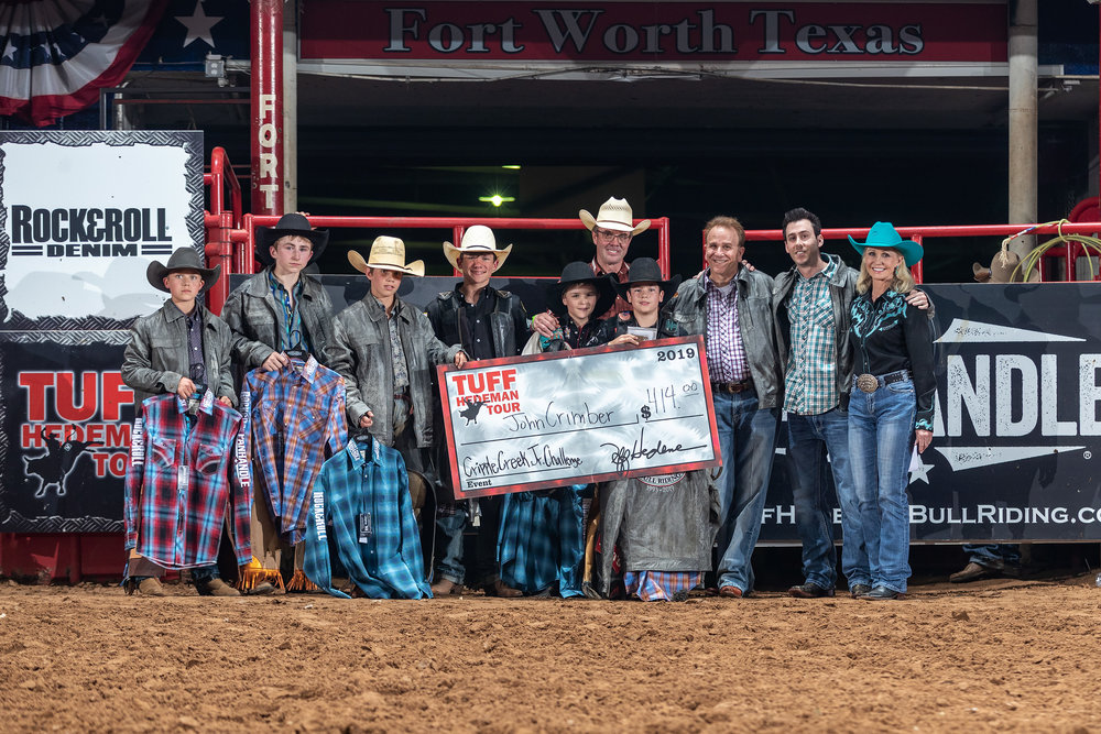 Tuff Hedeman and Pam Minick celebrate 27 years of the Cripple Creek Junior Bull Riding at the TH Fort Worth Challenge
