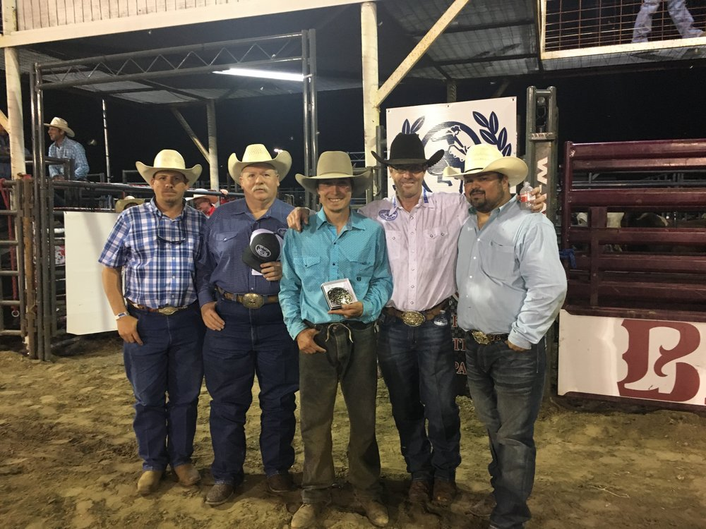 Tuff Hedeman and sponsors with 2018 Baytown Fair and Rodeo Tuff Hedeman Bull Riding Champion, Lane Toon, Lane, Oklahoma.