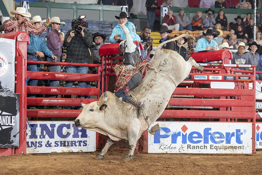 Hat Brand Rodeo Company Wins Baytown Bull Team competition with Heavy Duty leading the team.  Photo credit: Todd Brewer, 257 Heavy Duty with Trey Benton at THBR Fort Worth.