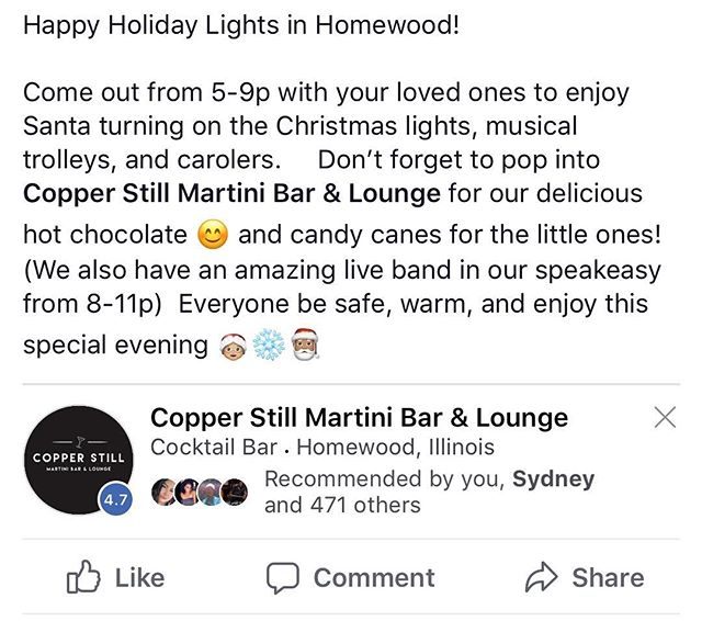 Enjoy your special night with all of us here at the Copper Still! #homewood #villageofhomewood #chicagoland #martini #cdvodka #homesweethomewood