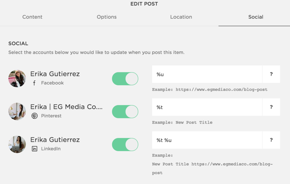 Photo of Squarespace Blog Post Share button
