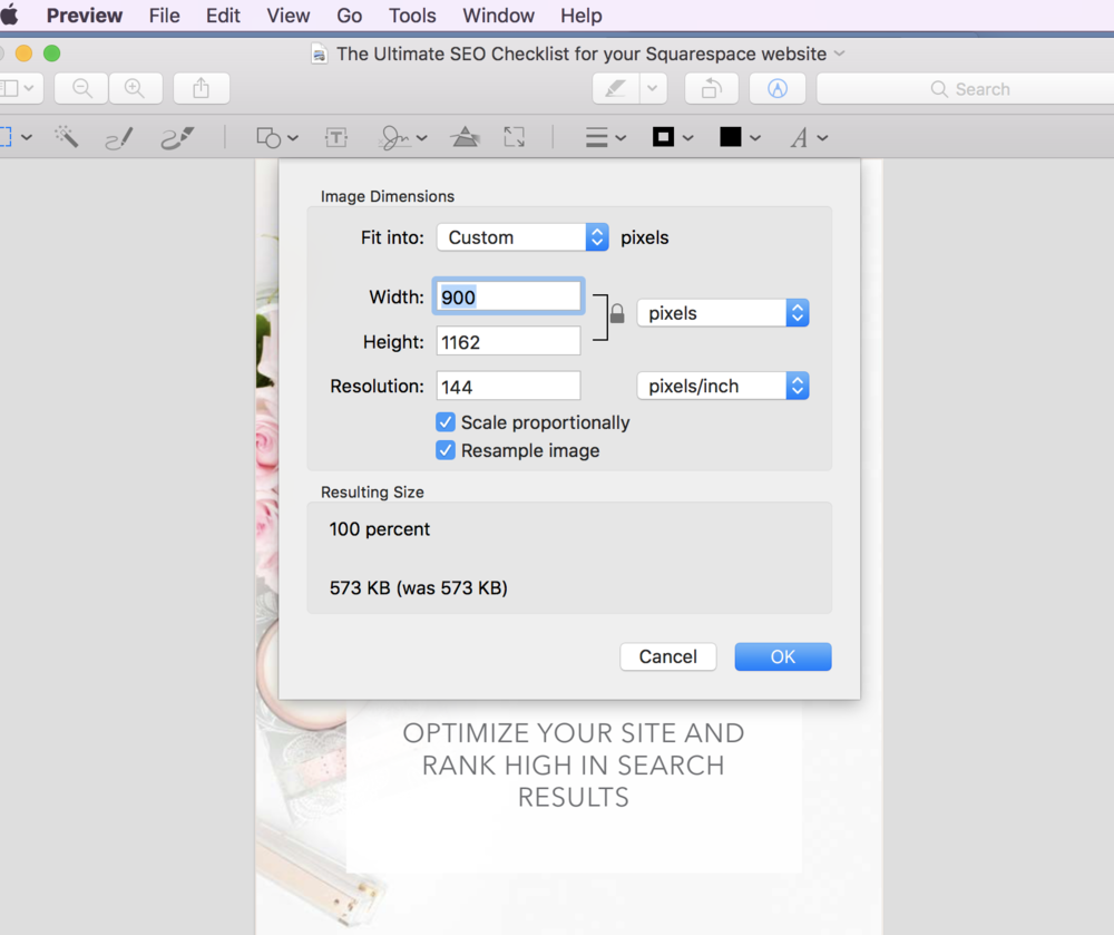 how to reduce images sizes for Mac users