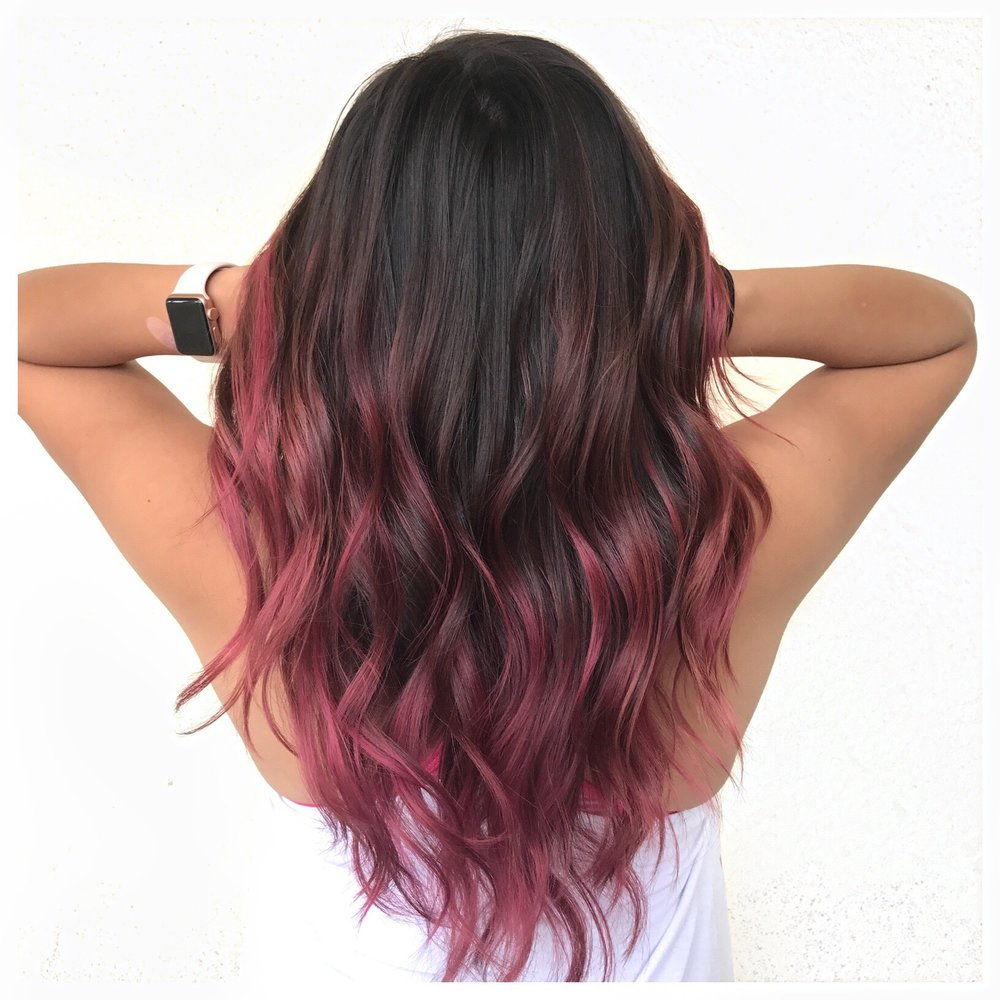 Fantasy color | magenta, ombre, long layers
