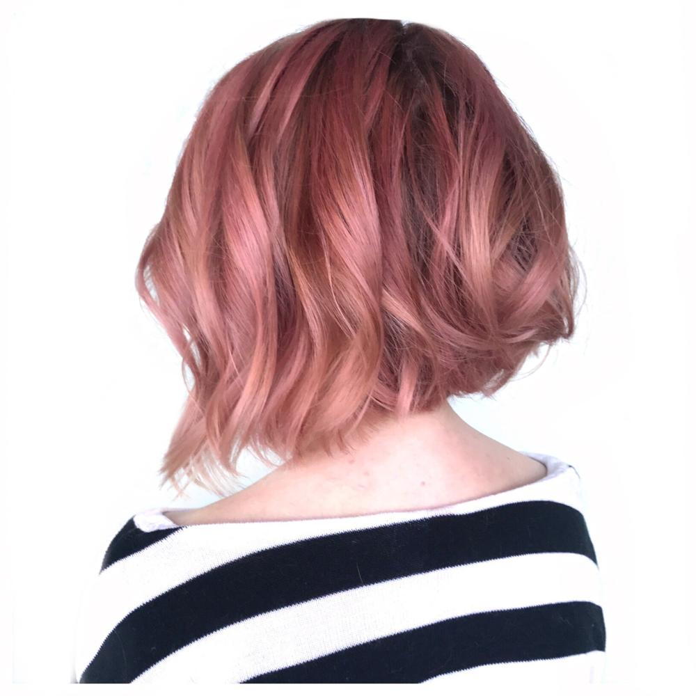 Fantasy balayage, pink hair aline side