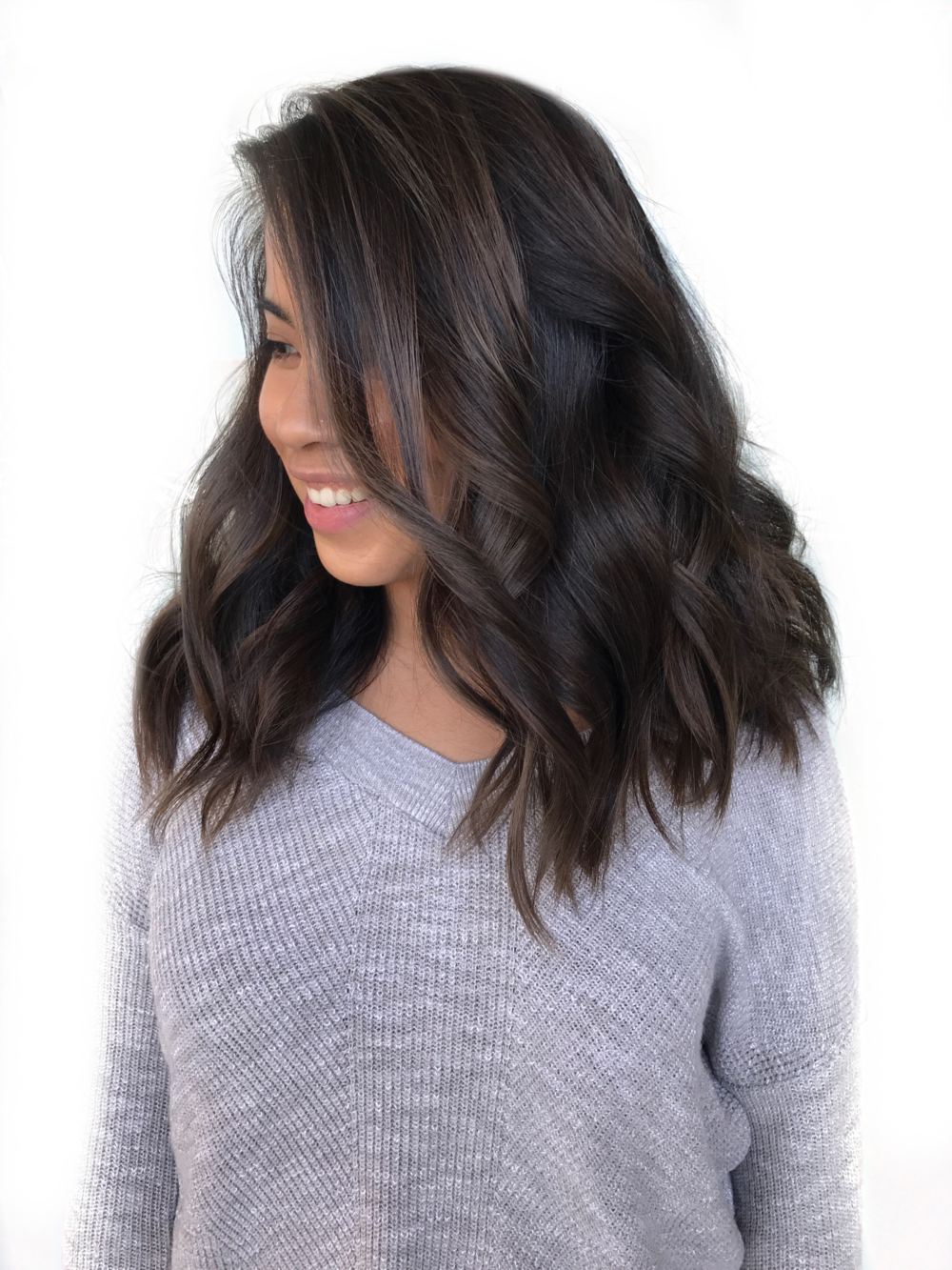 Balayage ash brown, textured mid length side