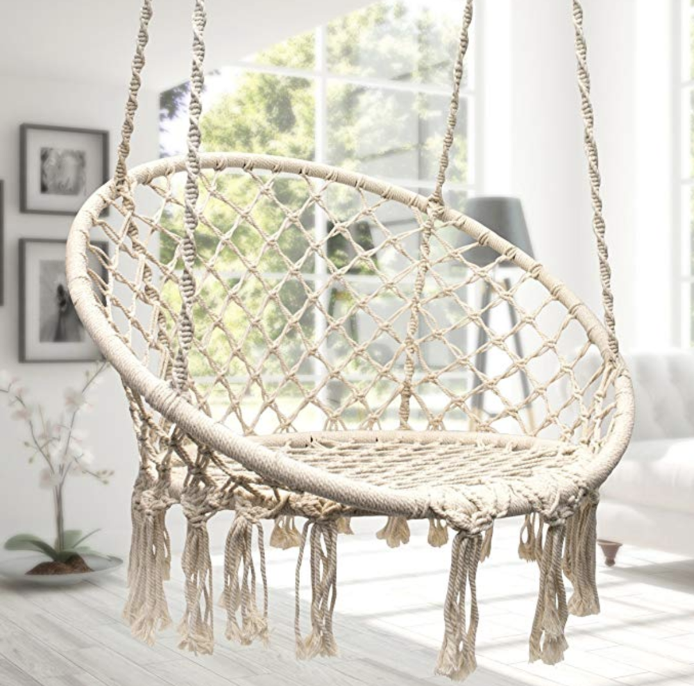 Hanging Hammock Swing    I love this thing. I gifted it to myself, but that still counts, right? Can be mounted indoors or outdoors and comfortable for adults. Swinging on this on my balcony brings me joy and is endlessly soothing.