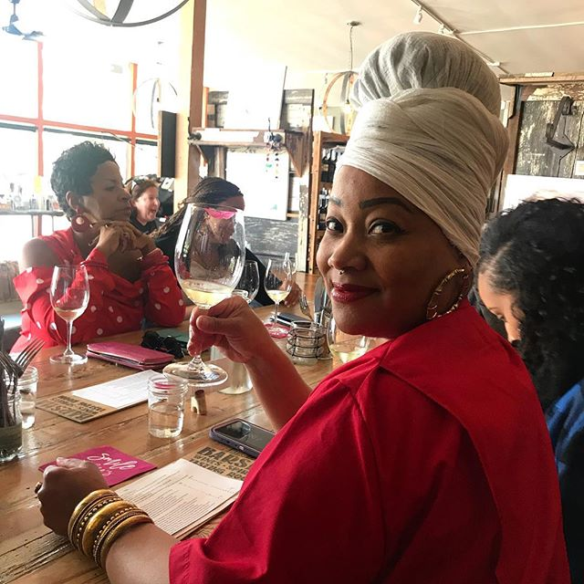 | Wine-tasting at @barshawines with @shoshoni13. Looks like she's having a nice time!😁 #motherday #theblackbusinesstour
