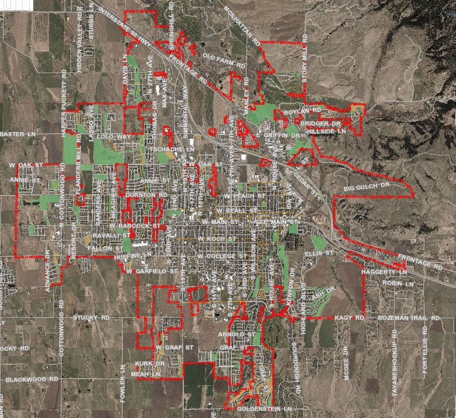 A map of Bozeman's City Limits outlined in red, as of this writing.