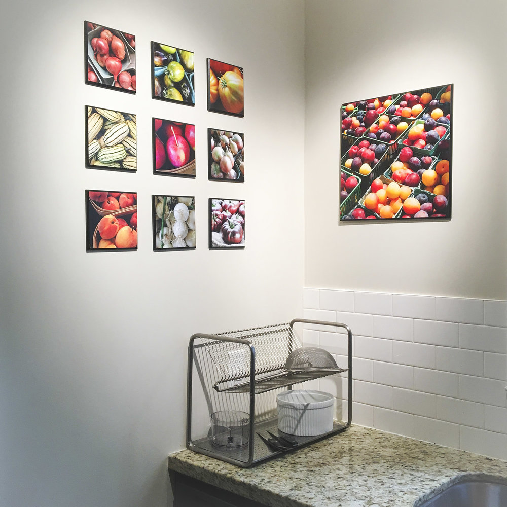Kitchen art boards - Especially suited for the kitchen, breakfast nook, or other informal settings.High-resolution digital photos are printed on ultra-smooth matte photo paper, mounted on medite board, protected with low-glare satin laminate, and finished with a handsome beveled edge. Black or white bevel option. Laminate contains UV filters to protect against fading. Dimensionally stable. Easily wipe clean with a damp cloth. Routered for easy hanging.Fresh and local!  All images from farmers' markets. Title and description on back (bilingual - English and French) credits photographer, farm, and market.