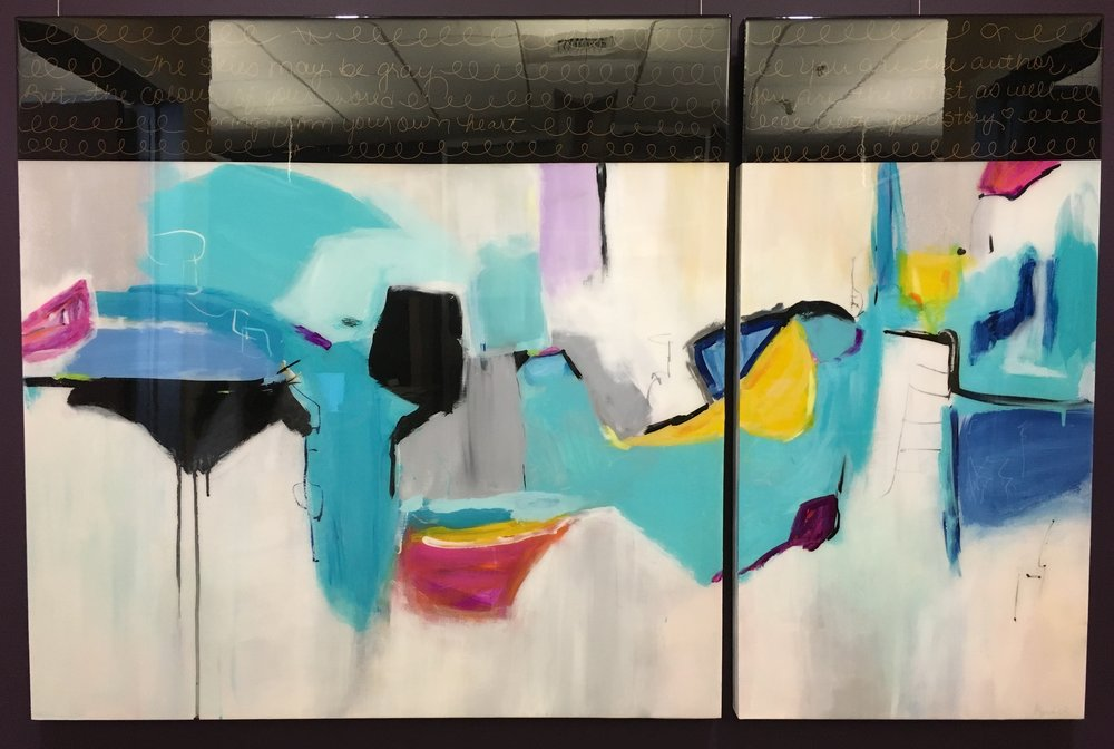 """THE SHAPE OF THINGS"" 54X36 DIPTYCH MIXED MEDIA / RESIN ON BOARD"