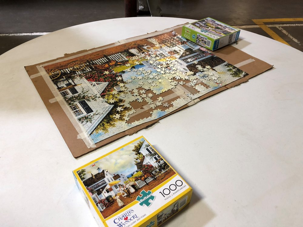 A nearly finished puzzle was laid out on a table in the dining area Friday, May 11.