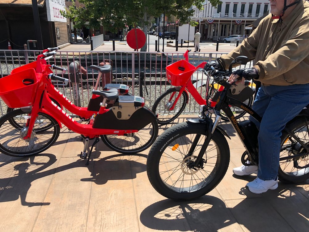 Electric assisted-pedal bikes from JUMP are now available for rent in Old Sacramento and elsewhere around town. The smooth surface of the new walkway is much easier to bike on than the rough railroad ties that formerly comprised Old Sacramento's main waterfront walkway.