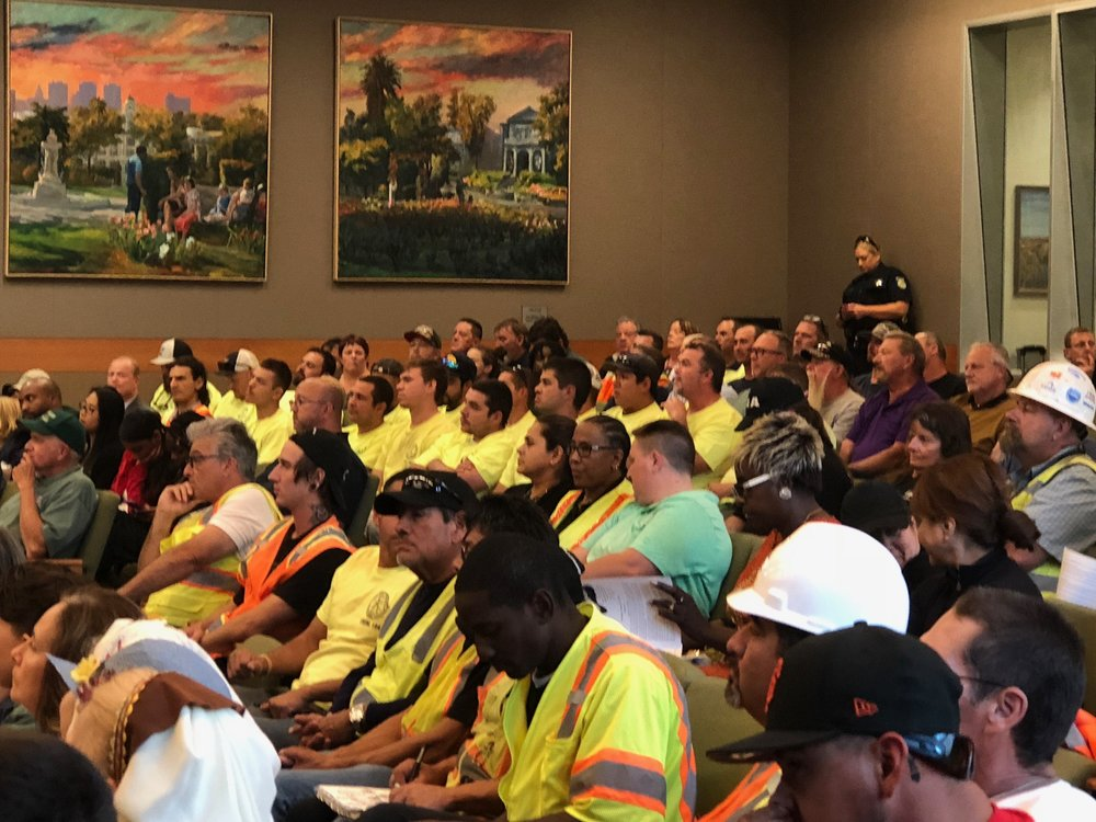 The City Council chambers was crowded during debate of local hire requirement