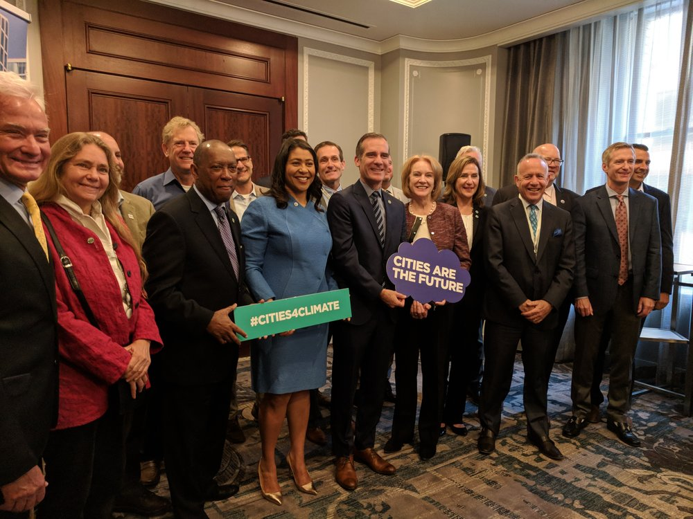 Mayor Darrell Steinberg with other mayors who have pledged to combat climate change, including Houston Mayor Sylvester Turner, San Francisco Mayor London Breed and Los Angeles Mayor Eric Garcetti.