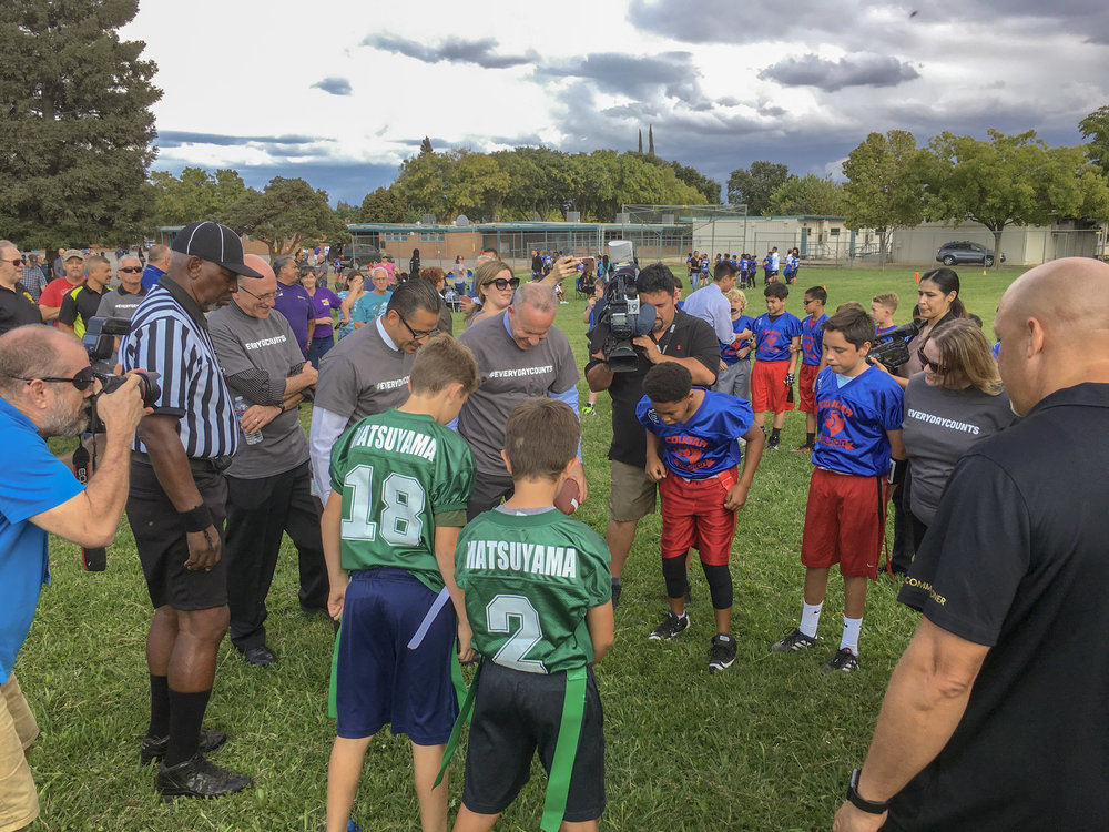 Mayor Steinberg + Superintendent Aguilar coin toss