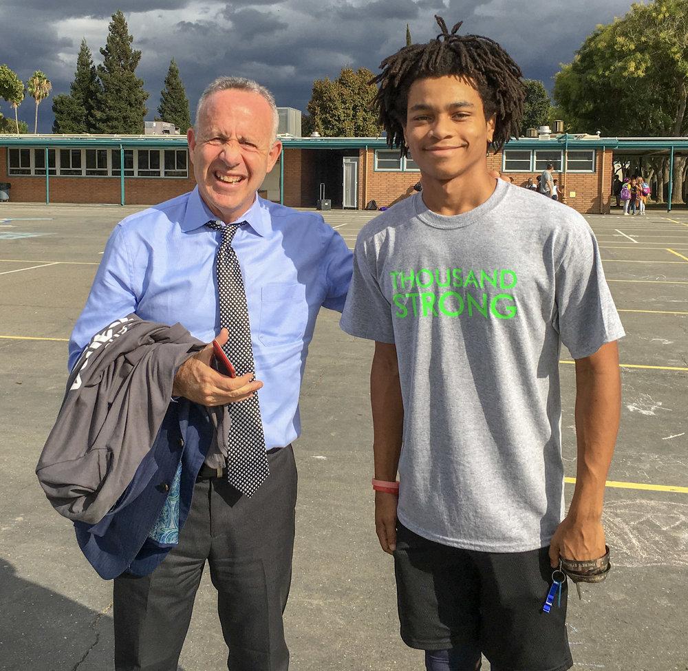 Mayor Steinberg + Thousand Strong student
