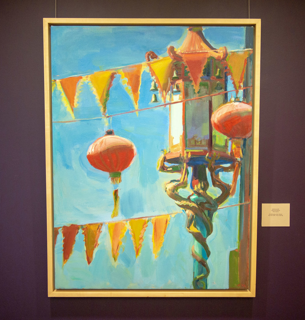 Flags & Lanterns, oil on canvas - in honor of the Lunar New Year, Year of the Pig,