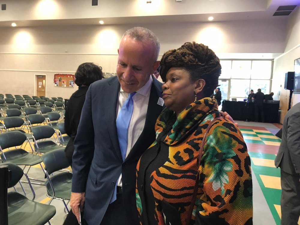 Mayor Steinberg talks with Tina Roberts of the Roberts Family Development Center in north Sacramento after his State of the City address
