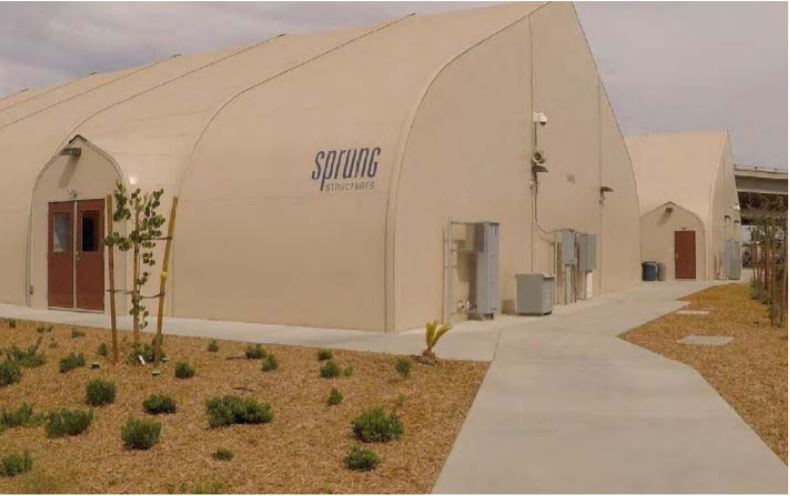 A Sprung shelter in Fresno