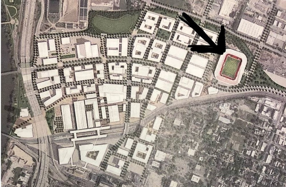 Aerial view shows planned soccer stadium in the context of The Railyards development