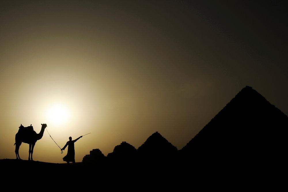 Sunset at Giza Pyramids