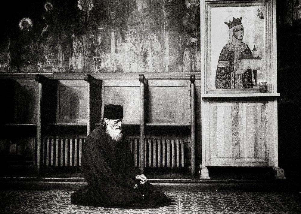Orthodox monks in Romania