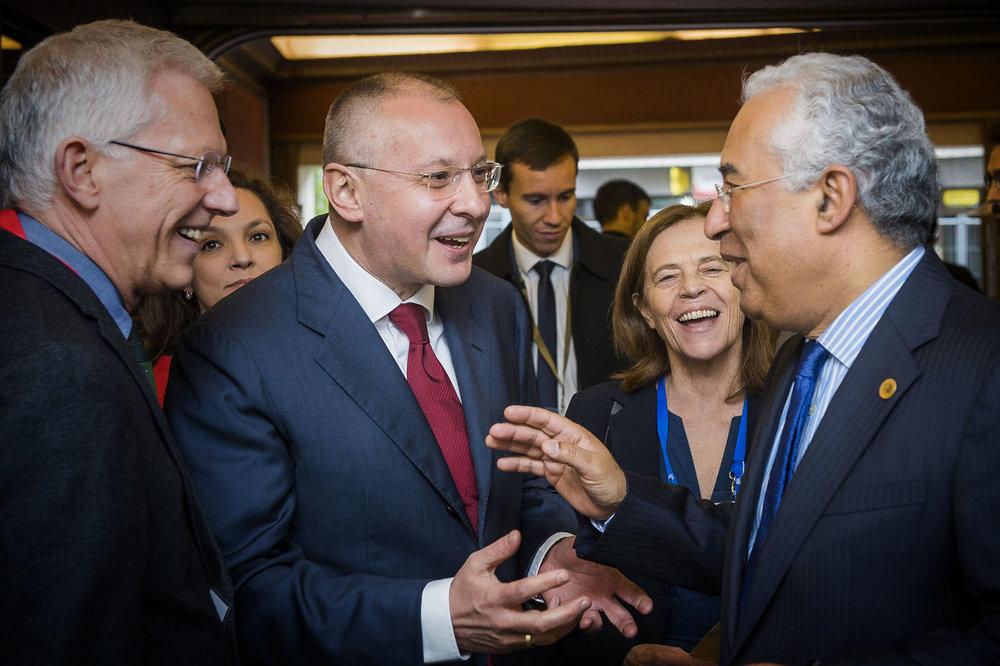 Reunión entre el presidente del Partido Socialista Europeo Sergei Stanishev y el presidente de Portugal Antonio Costa. Foto: Ezequiel Scagnetti
