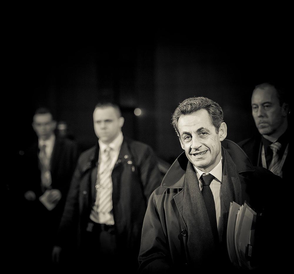 Nicolas Sarkozy, presidente de Francia, llegando una cumbre europea. Foto: Ezequiel Scagnetti