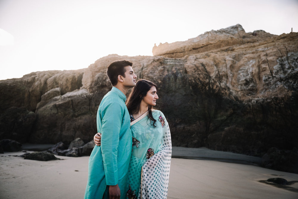 Sutro Baths SF Indian Engagement Photos Ambika + Vikas