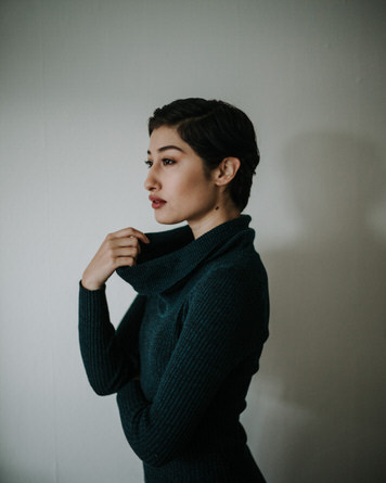 Turtleneck portrait of Adrianna Reloba Benzakour by Jaclyn Le