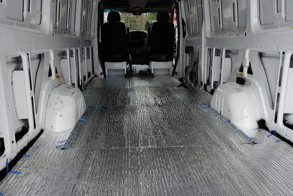 The Reflectix underneath the subfloor of our van.