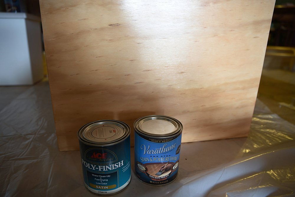 We used one coat of the poly/stain combo, followed by two coats of a clear polyurethane.