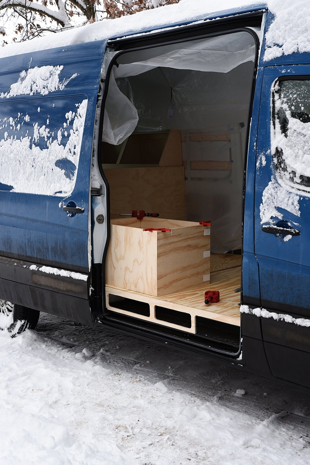 We test fit the bench within the van, and we also test fit the fridge within the bench.