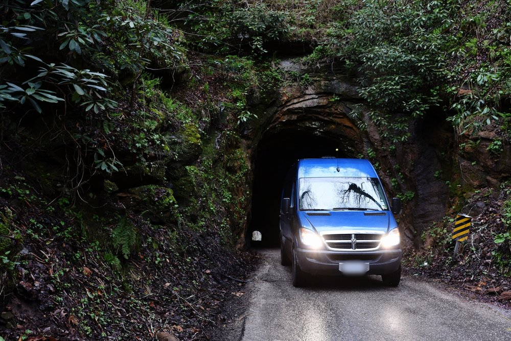 We drove the van through Nada Tunnel into the Red River Gorge. It's a one lane tunnel carved straight through a mountain.