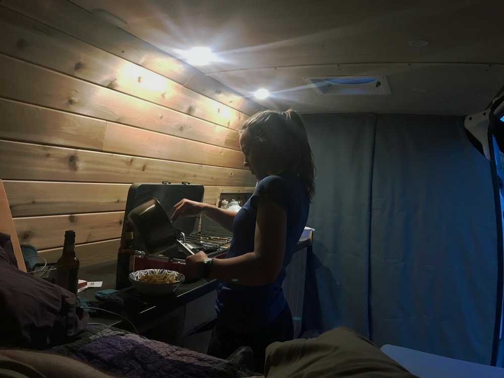 Cooking in the van was a trying experience, because it was so hot. We were trying to keep a low profile since we were immobile, so we couldn't even open the doors.