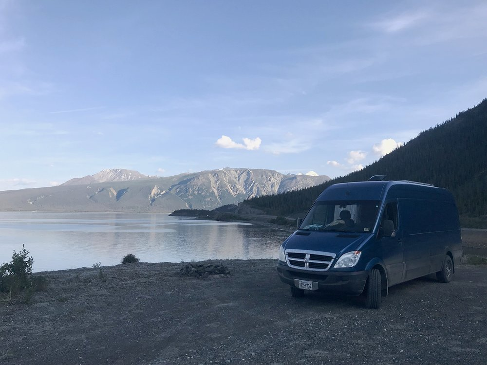 Our beautiful camping spot right by Kluane Lake.