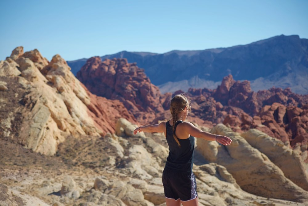 Enjoying the panoramic view of Silica Dome at the end of Fire Canyon Road.