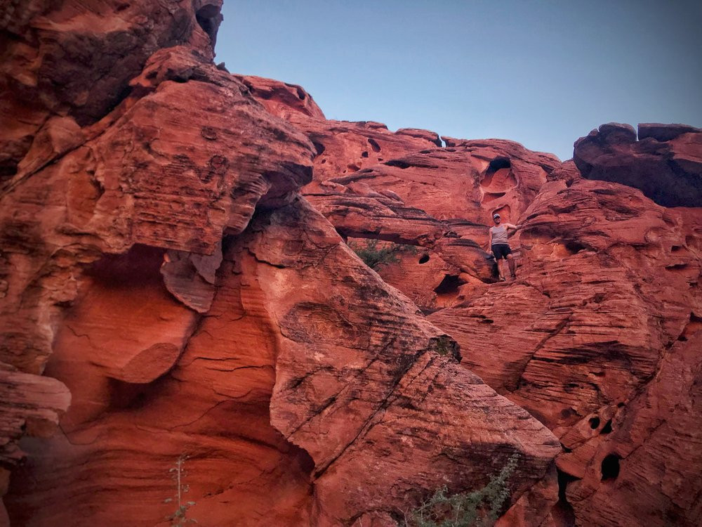 Ian scrambling in the canyon beyond Mouse's Tank. We found several more small arches that were definitely more impressive than the arch on the Scenic Loop.