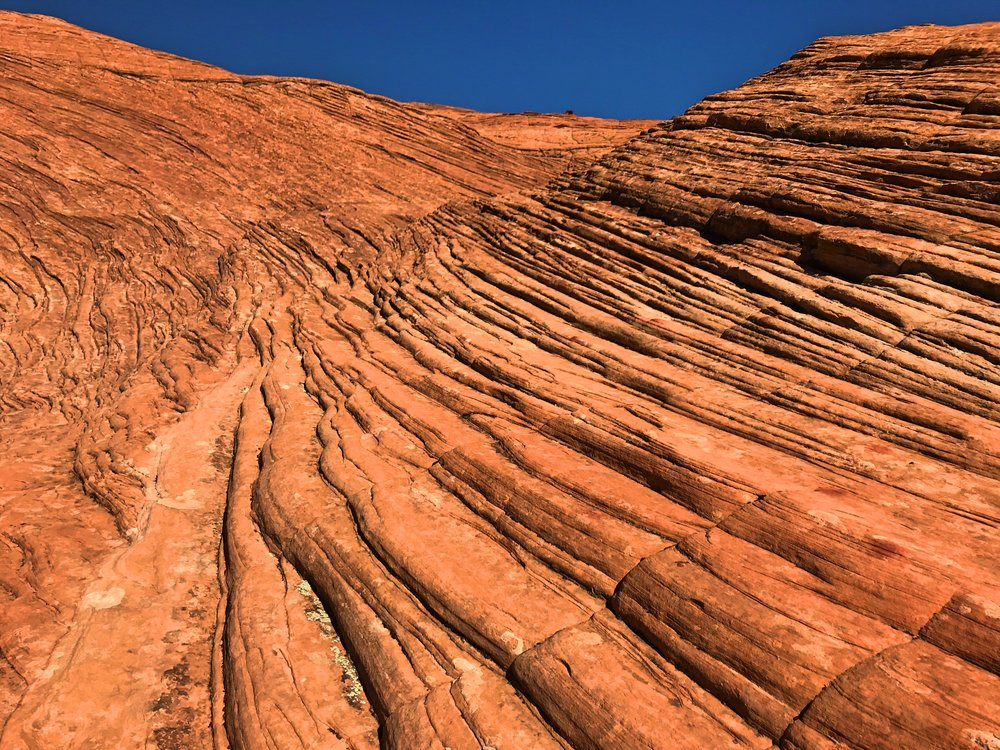 These beautiful layers of red sandstone are sand dunes frozen in time.