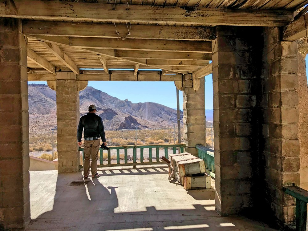 Ian on the porch of the Rhyolite train depot.