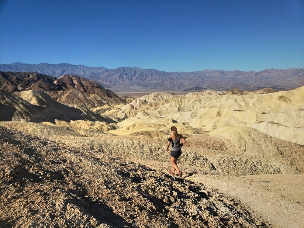 The Badlands Trail at Zabriskie Point is great for trail running, just a bit hot!