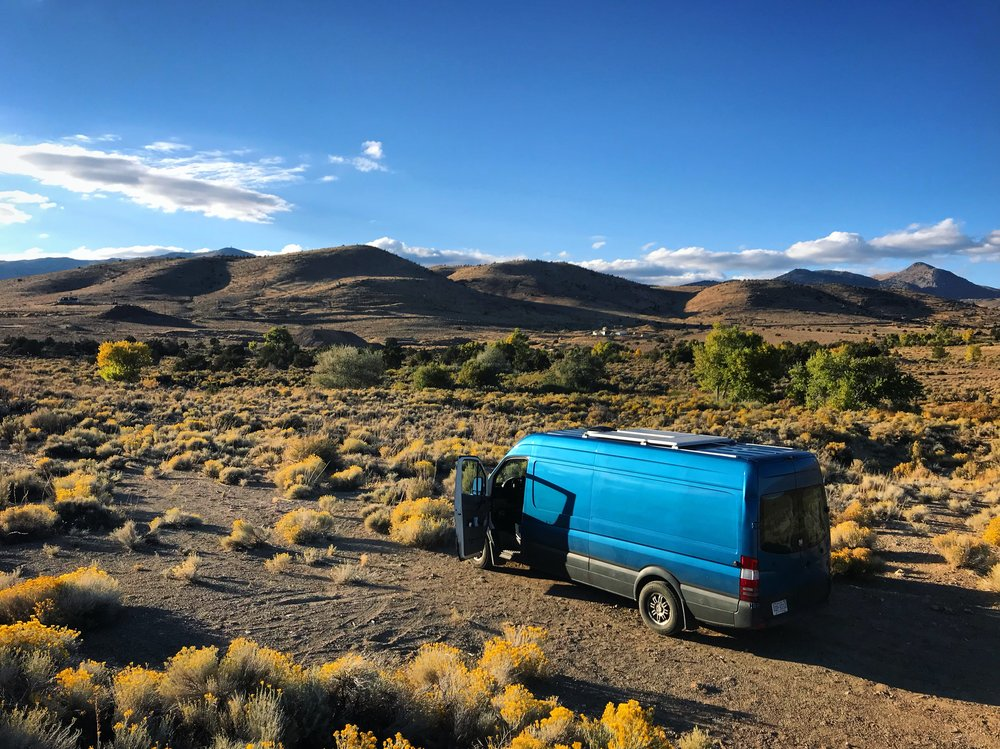 The free camping spot on BLM land near Dayton, Nevada.