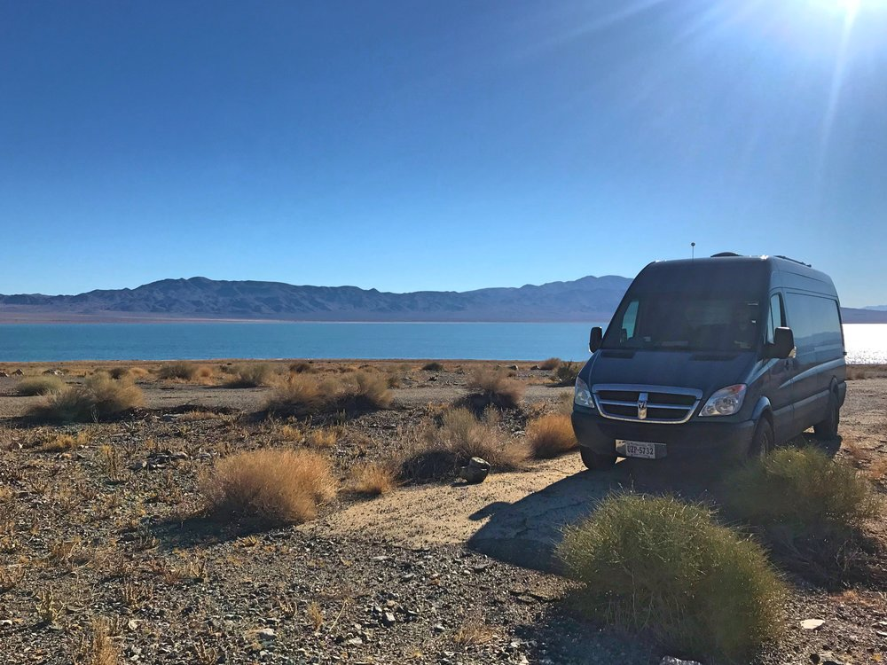 Waking up to a gorgeous lake ringed by mountains in the middle of the Nevada desert was incredible.