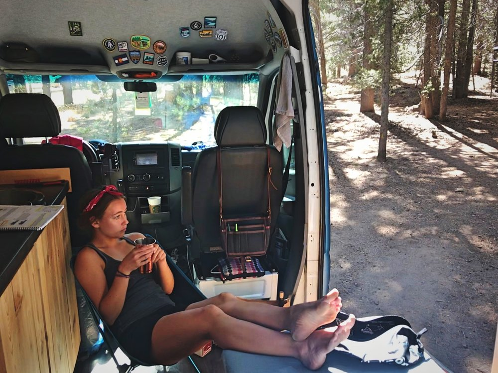 Kaylee relaxing in a Helinox One chair the Toiyanabe National Forest near Lake Tahoe in California.
