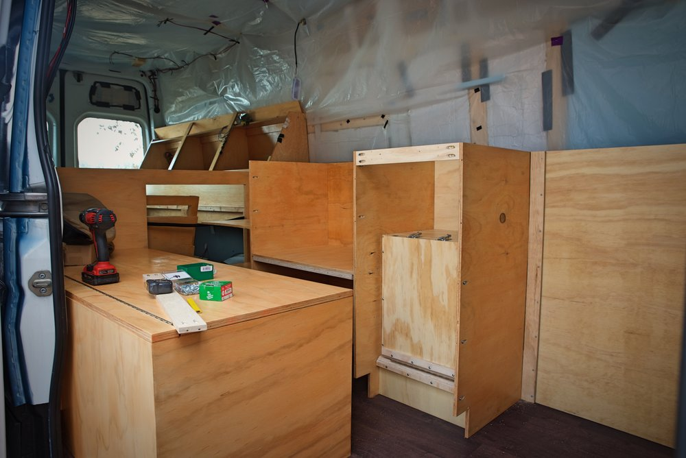 It would have been impossible to move this cabinetry into the van if it were built as one unit.