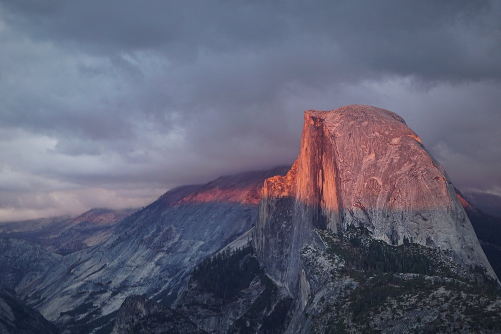 Two nights before we left, we caught a stormy sunset that turned Half Dome a glowing pink from Glacier Point.