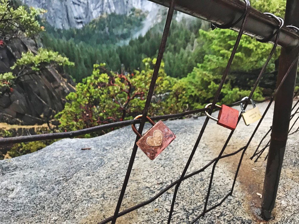 Love locks on the fence at the top of Vernal Falls.